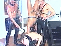 Suspended slave gets balls shaved