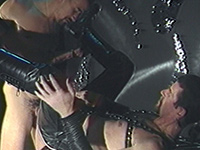 Mature leather men fucking in the dungeon