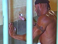 Horny bully inmate uses prison cell gloryhole