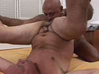 Horny old man spreads his buddy open for anal