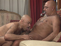 Couch sex with two older gay daddies