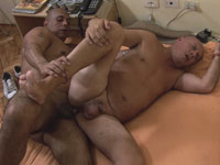 Strong handed gay daddy plows mature asshole