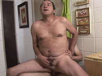 Naughty sex in the kitchen with older gay daddies