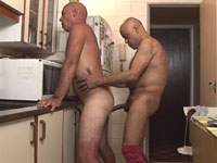 Old gay guys fuck butts hard in the kitchen